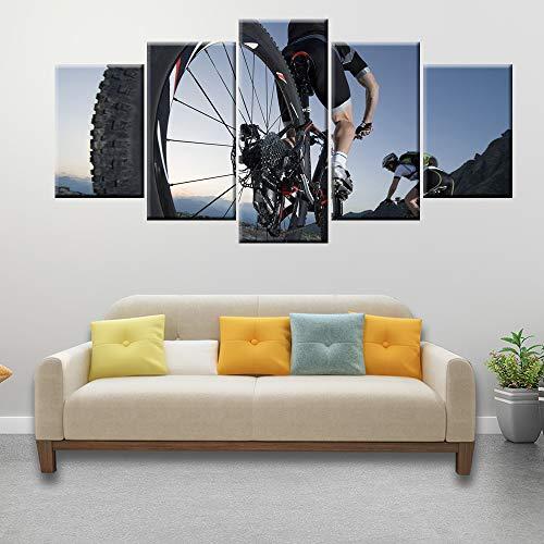 HQATPR canvas HD print muurkunst 5 panelen module mountainbike extreme sport poster moderne wooncultuur With Frame 30 x 40 cm x 2,30 x 60 cm x 2,30 x 80 cm x 1.