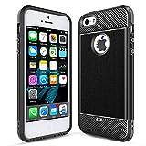 LeYi iPhone SE Case (2016), iPhone 5S Case, iPhone 5 Case, Carbon Fiber Design Slim Soft Feeling Shock-Absorption Anti-Scratch&Fingerprint Full Protective TPU Phone Case for iPhone 5/5s/se ZX Black