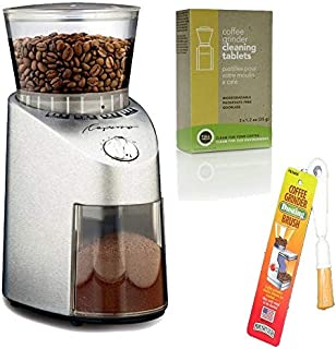 Capresso 565.05 Infinity Stainless Steel Conical Burr Grinder with Urnex Full Circle Biodegradable Coffee Grinder Cleaning Tablets and Coffee Grinder Dusting Brush (3 Items)