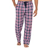 Chaps Men's Soft Touch Printed Flannel Pajama Pant, Navy/Red Plaid, Large