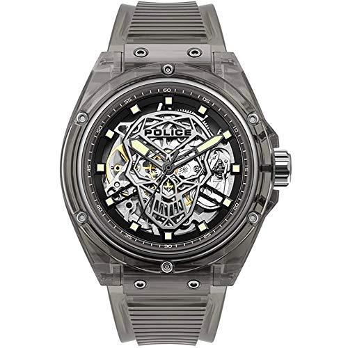 Police Watches Translucent Herren Uhr analog Automatik mit Silikon Armband PL.15924JPB-02P