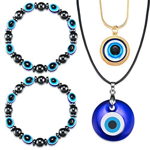 Hicarer 4 Pieces Evil Eye Pendant Necklace Glass Faux Leather Rope Chain Turkish Protect Lucky Necklace with Evil Eye Bracelets for Valentine's Day Women Men