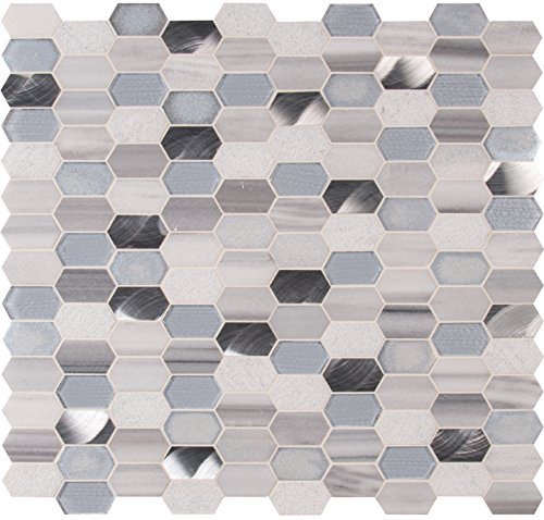 MSI Harlow Picket Blend of Glass, Metal and Stone Tile for Kitchen Backsplash, Wall Tile for Bathroom, Shower Wall Tile, 11.5 in. x 12.4 in. Mesh-Mounted Mosaic Tile (10 sq. ft.)