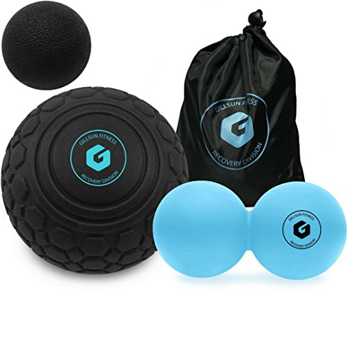 Massage Ball Set - Includes 5' Deep Tissue Mobility Ball and Peanut Double Lacrosse Ball - for Trigger Point Therapy, Myofascial Release, Muscle Knots, Yoga, Crossfit, Self Massage, and Mobility Work