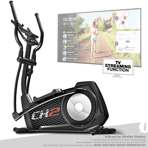 Sportstech CX2 Crosstrainer für Zuhause | mit Stromgenerator | Deutsches Qualitätsunternehmen | Video-Events & Multiplayer-App | Fitness Ergometer mit Konsole & integr. Tablethalterung