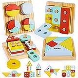 HYAKIDS 4 in 1 Geometrica Giocattoli di Ordinamento delle Forme in Legno Impilatore Tangram Giocattolo Puzzle Blocchi Educazione Regalo per Bambini 3 Anni