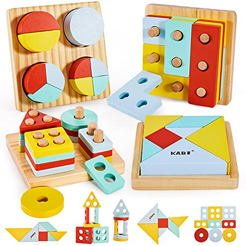 HYAKIDS 4 en 1 Geométricade Madera Juguete de Clasificador de Apilables de Forma Tangram Juguete Rompecabezas de Madera Tablero para Apilar Educativos para Bebés Niños