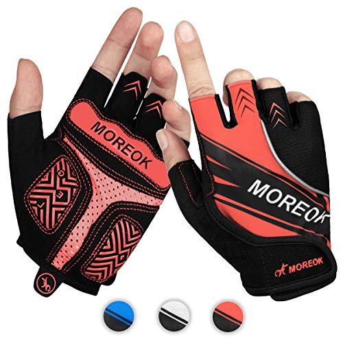Achiou Cycling Bicycle Gloves Half Finger Mountain Bike Road Racing Gloves Gel Pad Outdoor Sports for Men/Women Red M
