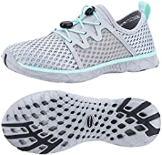 ALEADER Womens Stlylish Aqua Water Shoes, Comfort Tennis Walking Sneakers LT Gray/Aqua Sky 8.5 B(M) US
