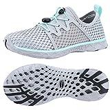 ALEADER Womens Stlylish Aqua Water Shoes, Comfort Tennis Walking Sneakers LT Gray/Aqua Sky 9 B(M) US