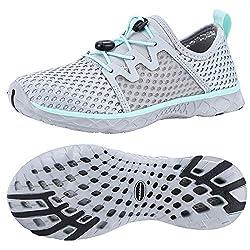 in budget affordable ALEADER Ladies Stylish Aqua Water Shoes, Comfortable Tennis Walking Sneakers LT Gray / Aqua Sky 7 B (M) US