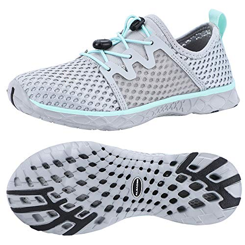 ALEADER Womens Stlylish Aqua Water Shoes, Comfort Tennis Walking Sneakers LT Gray/Aqua Sky 9.5 B(M) US