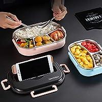 Cffdoifhe お弁当ばこ, ランチボックスの子供たちとコンパートメントステンレス鋼日本の弁当箱電子レンジ加熱食品容器食器 (Color : Pink)