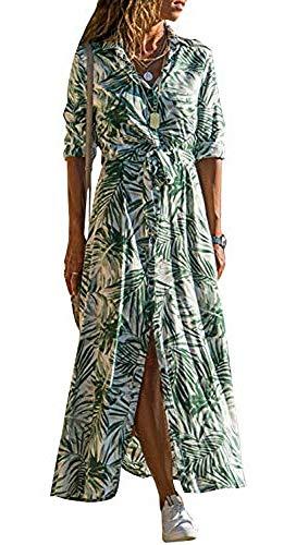chuangminghangqi. Vestiti Donna Eleganti Maniche Lunghe Chiffon Camicia Stampa Maxi Abito Casual con Bottoni sul Davanti (Verde, L)