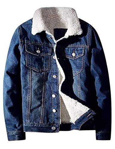 Lentta Men's Vintage Relax Fit Thick Fleece Sherpa Lined Denim Jean Jacket Coat (X-Large, Dark Blue001)