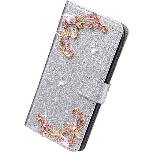 Herbests Kompatibel mit iPhone 6S Plus Hülle Leder Handyhülle Schmetterling Glänzend Bling Glitzer Diamant Strass Klapphülle Flip Case Brieftasche Schutzhülle Wallet Tasche,Silber