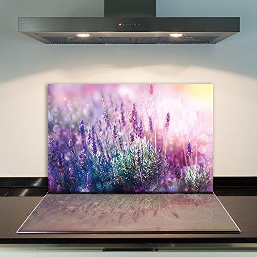 damu   para cubrir la vitrocerámica 1piezas 80x 52cm cubiertas de acero Cristal Flores púrpura eléctrico Horno Cocina de inducción Placa de protección contra salpicaduras Cristal–Tabla de cortar