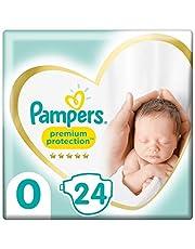 Pampers Maat 0 Luiers (<3 kg), Premium Protection, 24 Stuks, Onze Nummer 1 Luier voor Zachtheid en Bescherming van de Gevoelige Huid