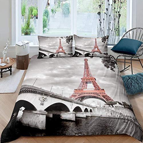 Meimall Juego De Ropa De Cama Arquitectura Torre Eiffel Puente Río 180X220 Cm Reversible, 100% Microfibra Suave Y Agradable, 1 Funda Nórdica Y Funda De Almohada De 50X75Cm con Cremallera