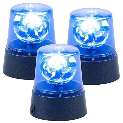 Lunartec Drehlicht: 3er-Set LED-Partyleuchten im Blaulichtdesign, mit 360°-Beleuchtung (Rundumleuchte)