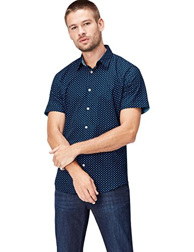 find. Camisa de Lunares Entallada de Manga Corta Hombre, Azul (Navy Polka), XX-Large