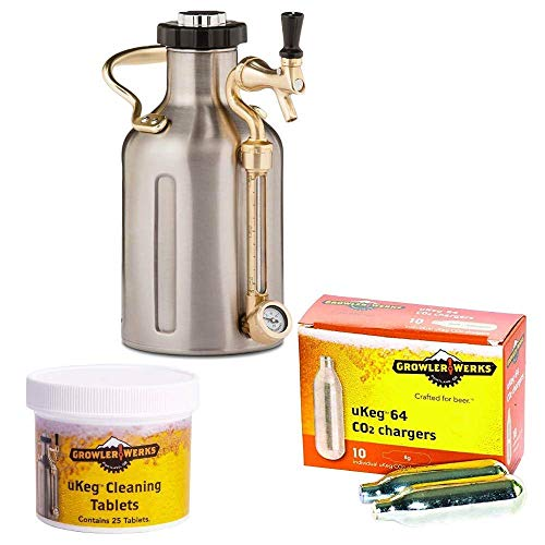 GrowlerWerks uKeg Carbonated Growler 64oz Stainless Steel - 10 CO2 Chargers - 25 Cleaning Tablets