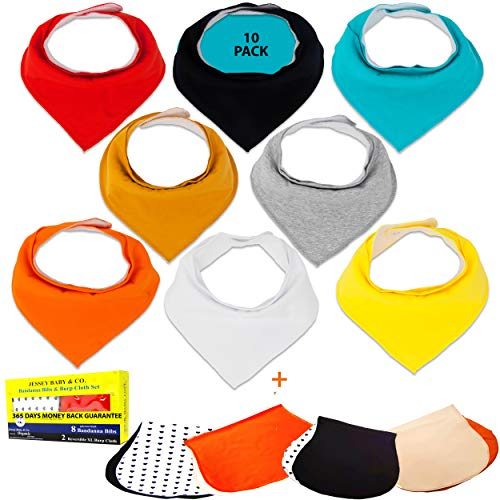 10 Pack Baby Bibs & Reversible Burp Cloth for Boys and Girls Bandana Bib Teething & Drooling Waterproof, Organic Cotton...