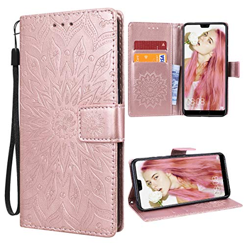 VemMore für Huawei P20 Pro Hülle Handyhülle Schutzhülle Leder PU Wallet Flip Case Bumper Lederhülle Ledertasche Blumen Muster Klapphülle Klappbar Magnetisch Dünn Silikon Sonnenblume - Rose Gold