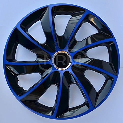 "NRM Copricerchi di ruote in nero blu 15 pollici Set di 4 STIG | 4x Copricerchioni universali per ruote nero blu 15"""