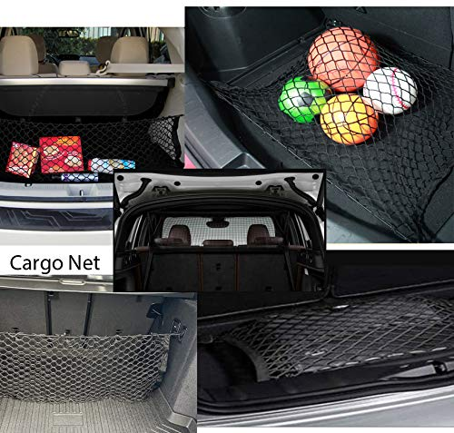 "LT Sport 28"" Universal Rear Trunk Tie Down Cargo Net Elastic Nylon Mesh Cover"