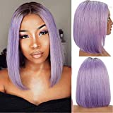Kreesi Grade 9A Virgin Human Hair Bob Wigs for Black Women 1B/Purple Ombre Colored 13x4 Lace Front Wigs Human Hair Short Straight Bob Wig Pre Plucked Natural Hairline 150% Density