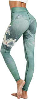 HAPYWER Yoga Leggings Damen High Waist Gym Sport Leggings Tummy Control Yoga Hosen Running Workout Kompressionsstrumpfhose Stretch Trainingshose mit Aufdruck
