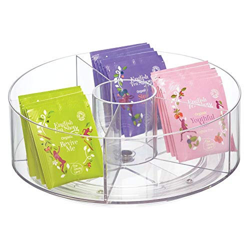 mDesign Plastic Spinning Kitchen Lazy Susan Round Turntable Storage - Rotating Organizer for Tea Holder - 5 Compartments For Beverage Bags Sweeter Individual Packet - Clear