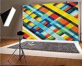 Colorido telón de fondo de vinilo para fotografía, líneas de colores vivos con elementos diagonales, diseño retro con fondo táctil moderno para bebé, cumpleaños, boda, estudio, fotografía.