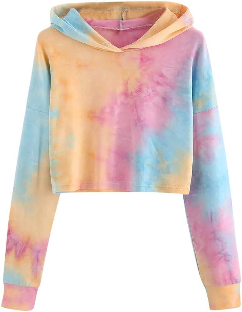 Eduavar Womens Hoodies,Women Teen Girls Fashion Tie Dyed Long Sleeve Crop Top Hoodie and Sweatshirt Casual Pullover Tops