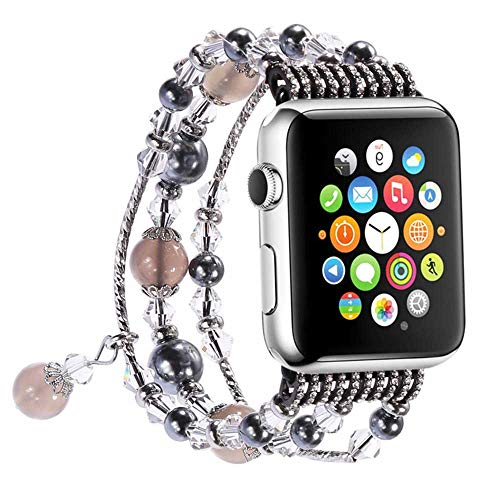 LANilianhuqa Correa compatible con Apple Watch 38-40mm/42-44mm, pulsera elástica de ágata hecha a mano para mujer y niña, repuesto para Apple Watch Series /4/3/2/1 38-40mm, color gris