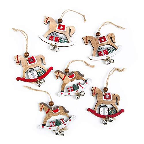 Logbuch-Verlag 6 ciondoli Natalizi Legno Marrone Cavallo a Dondolo pacchi Regalo Natale Glitter Vintage Antico addobbi Albero