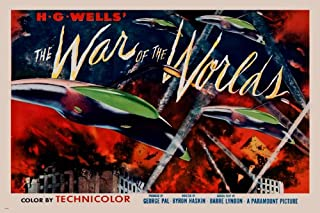 HG WELLS' WAR OF THE WORLDS movie poster CLASSIC SCI-FI lights space 24X36 (reproduction, not an original)