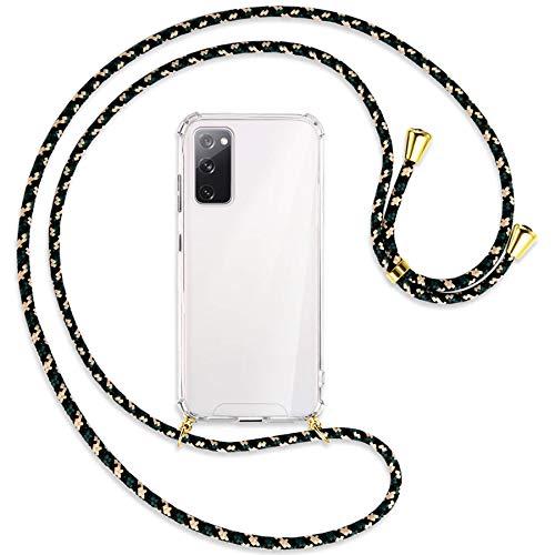 mtb more energy® Handykette kompatibel mit Samsung Galaxy S20 FE (SM-G780, 6.5'') - Camouflage/Gold - Smartphone Hülle zum Umhängen - Anti Shock Full TPU Hülle