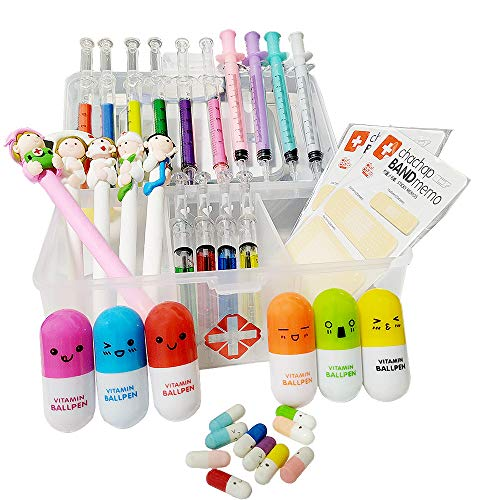 SunAngel 6 Syringe Highlighter Pens+6 Vitamin Pill Pens+4 Syringe Pens+4 Syringe Ballpoint Pens+ 5 Nurse Pens/Polymer Clay Ballpoint Pens, And 10 DIY capsules &2 Bandage Sticky Notes For Nurse
