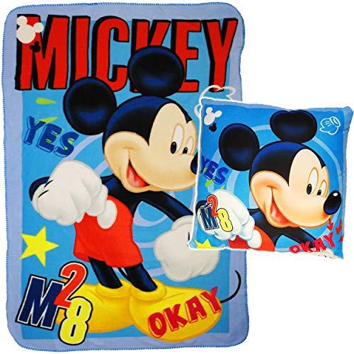 alles-meine.de GmbH Set: Kuscheldecke / Fleecedecke + Kuschelkissen - Disney - Mickey Mouse - 100 cm * 150 cm - Decke aus Fleece - Kissen Schmusekissen - Schmusedecke - Sitzkisse..