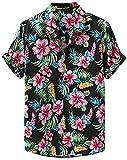 JDENNLX Camisa hawaiana tropical de manga corta con estampado floral para hombre