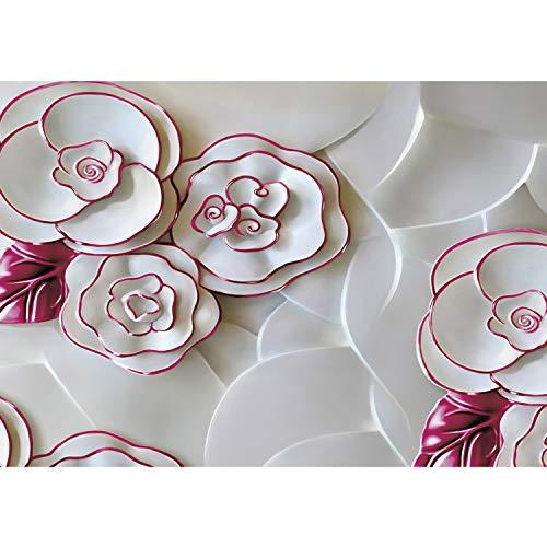Vlies Fototapete PREMIUM PLUS Wand Foto Tapete Wand Bild Vliestapete - Rosen Blüten Malerei Kunst Porzellan - no. 2434, Größe:368x254cm Blueback Papier