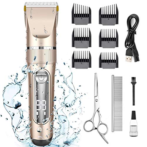 oneisall Dog Clippers Waterproof, 2-Speed Professional Rechargeable Cordless Pet Grooming Hair Shaver Set for Small Medium and Large Dogs Cats-Gold