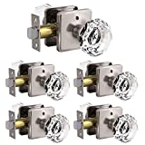 5 Pack Crystal Style Glass Door Knob, Privacy Door Knobs(Bed/Bath) in Satin Nickel Finish, Octagon Diamond Shape with Modern/Superb Design
