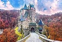 HD 7x5ft秋の背景写真撮影のおとぎ話の城の秋の風景白い雲青い空室内装飾壁紙ホリデーパーティーの背景子供子供大人肖像写真スタジオ