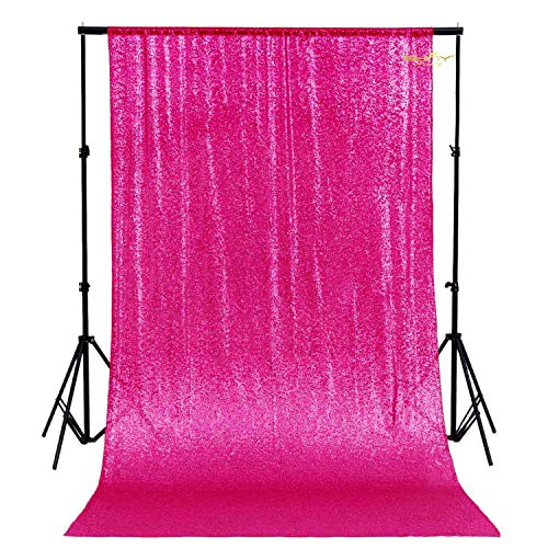 ShiDianYi 4FTx6FT-Sequin Backdrop-Hot Pink-Sequin Backdrops Curtain Glitz Sequin Backdrop Photography Sparkly Backdrop Photo Booth Curtain for Your House Decoration (Hot Pink)