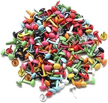 BoMiVa Set of 200 Mini Parisian fasteners multicolor paper craft Stamping Scrapbooking DIY tool 4.5mm