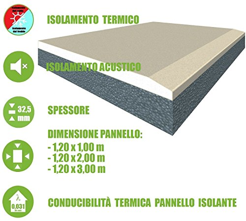 ITALFROM - Pannello Accoppiato da 32,5 mm Cartongesso + EPS con Grafite Isolante Termico (Pannello da 1,20 m x 2,00 m)