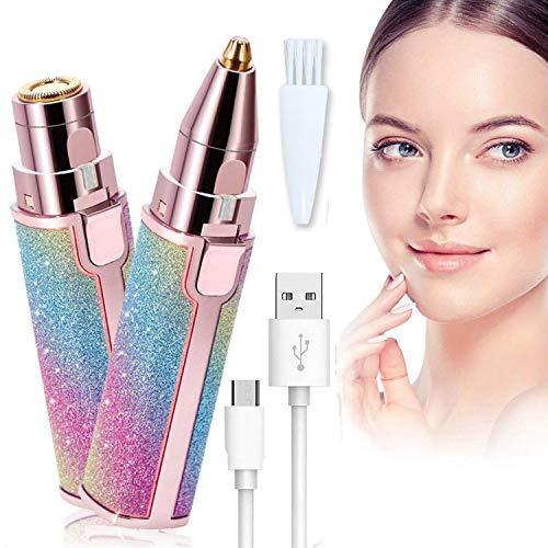 Gesichtshaarentferner für Frauen, Thanblue 2 in 1 Augenbrauentrimmer Augenbrauen Rasier Gesichts-Epilierer mit LED Licht Elektrischer Rasierer Schmerzloser Haarentfernung